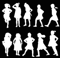 ten girl silhouettes collection isolated on black