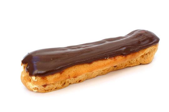 Eclair with chocolate fudge