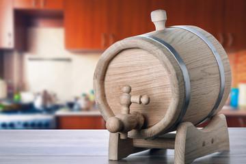 Oak barrels on the kitchen table