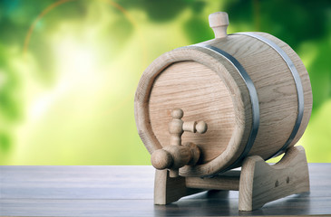 Oak barrels with natural background