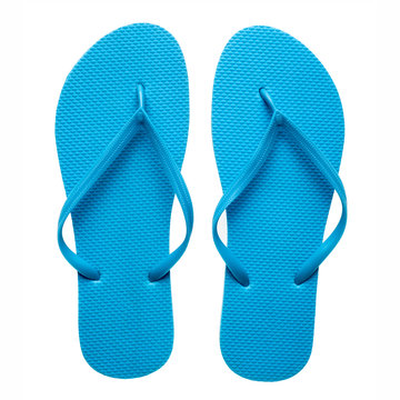 Blue flip-flops isolated