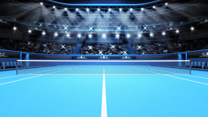 blue tennis court view and stadium full of spectators