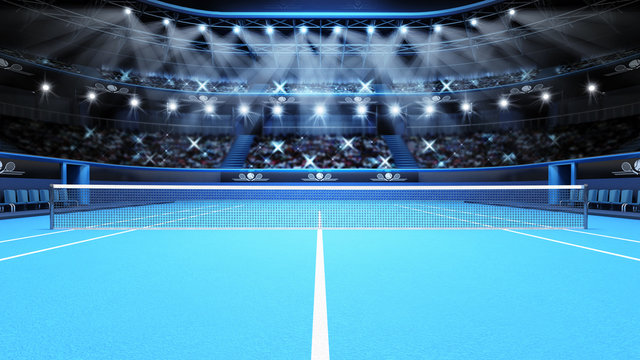 blue tennis court view and stadium full of spectators