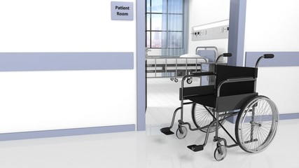 Black disability wheelchair in front of patient room in hospital