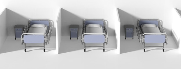 Hospital cubical beds and bedside tables in a row