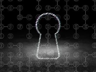 Data concept: Keyhole in grunge dark room