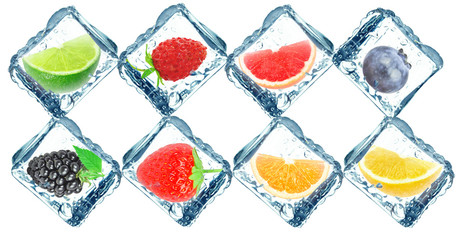 fruit in ice cube isolated on white background