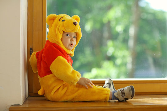 child dressed as a bear in the window
