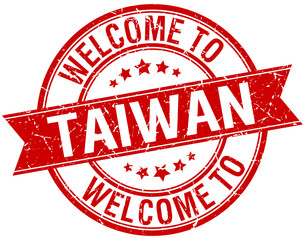 welcome to Taiwan red round ribbon stamp
