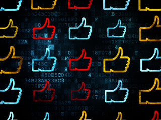 Social network concept: Thumb Up icons on Digital background