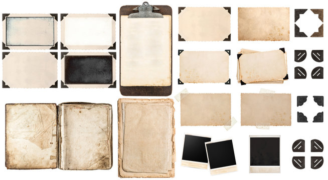 Old paper sheets, book, vintage photo frames and corners, antiqu