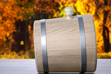 Barrel on autumn background