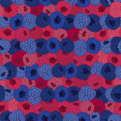 Seamless pattern with raspberry and blackberry.