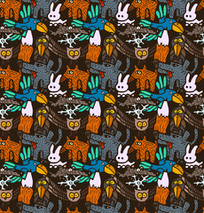 vector seamless pattern with different hand drawn forest animals