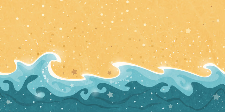 Seamless summer, sand, and water wave border