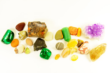 semiprecious minerals loose isolated