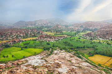 View over Hampi ancient hindu city
