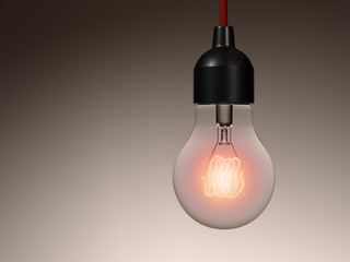 Incandescent light bulb hanging from a ceiling. Isolated.