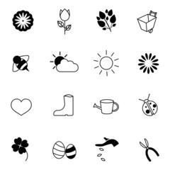 spring and season icons set vector illustration