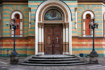 Lodz Cathedral entrance. Alexander Nevsky Orthodox Church