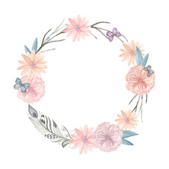 Watercolor floral wreath. It can be used for greeting cards, pos
