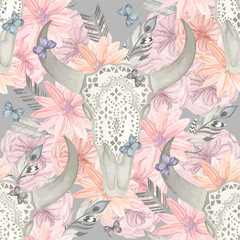 Ethnic seamless pattern. Skull bull in flowers