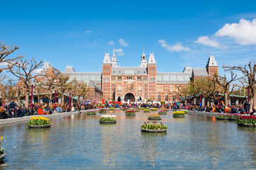 AMSTERDAM-APRIL 27: The Rijksmuseum during King's Day on April 27, 2015. The Rijksmuseum is the most important art museum in the Netherlands with thousands of old paintings in its collection.