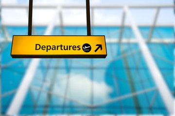 Wall Mural - Check in, Airport Departure & Arrival information board sign
