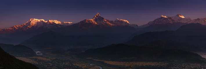 Wall Mural - Himalayan panorama at sunrise