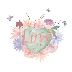 Watercolor floral print. Postcard with a picture of a cactus in