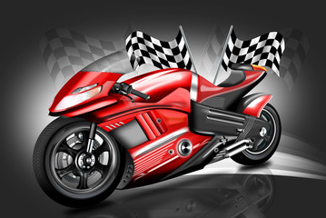 Motorcycle Motorbike Bike Riding Rider mit Zielflagge