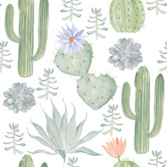 Seamless watercolor pattern of cactus. May be used in the packag