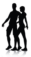 couple silhouette walking