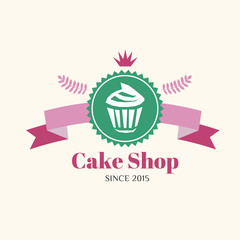 Abstract vector cake vintage logo element. Cakes, bread, bakery