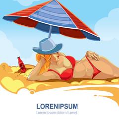 girl in the red bikini