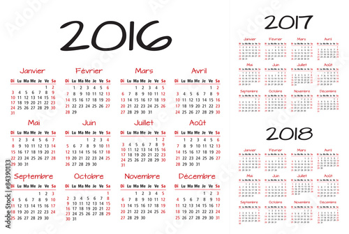 french 2016 2017 and 2018 year vector calendar stock image and royalty free vector files on fotoliacom pic 81574491