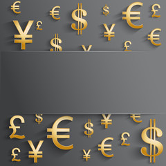 Business background with various gold money symbol