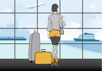 WOMEN TRAVELING. IN TERMINAL