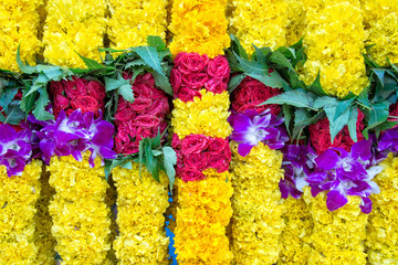 Indian colorful flower garlands background