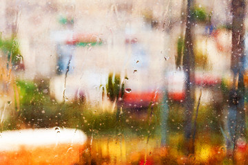 Abstract textured rainy window background