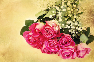 bouquet of pink roses floral background is love tenderness vintage retro selective soft focus