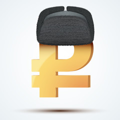 Symbol of the russian ruble in ushanka hat.