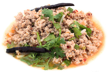 Traditional food Thailand (spicy minced meat salad)
