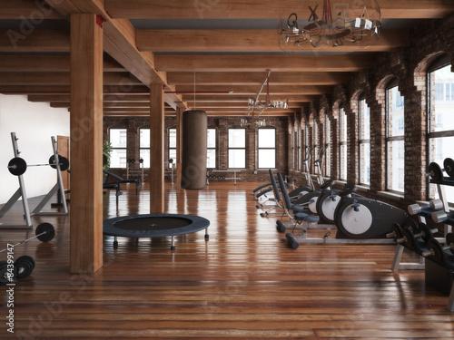 Sports club cross fit gym interior  Photo realistic 3d illustration