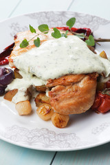 Chicken steak in gorgonzola sauce