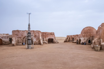 Canvas Prints Tunisia Exterior view of the original film set used in Star Wars as Mos