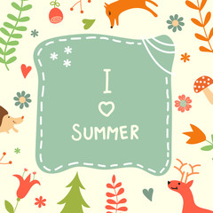 Sweet summer card with lovely forest plants and animals