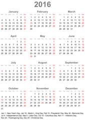 Kalender 2016 einfach mit gesetzlichen Feiertagen für die USA
