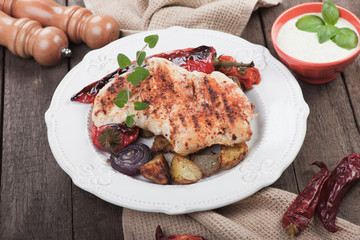Grilled chicken steak with vegetables