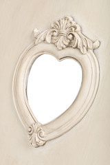 Picture frame in heart shape with clipping path.